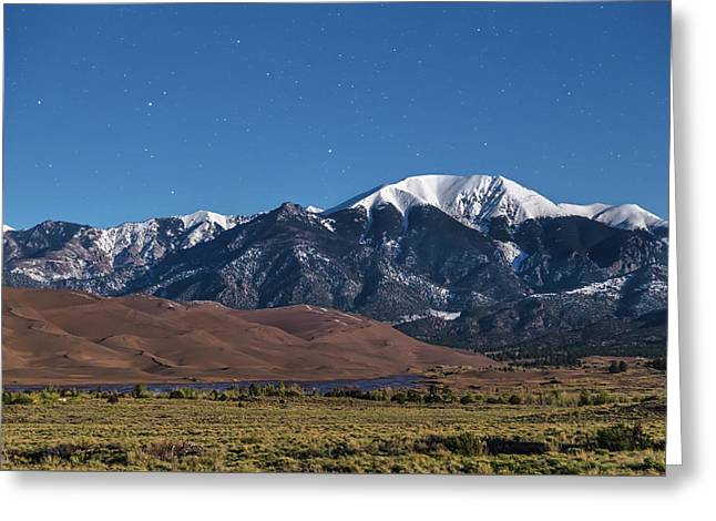 Moon Lit Colorado Great Sand Dunes Starry Night  Greeting Card by James BO Insogna