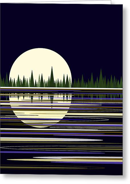 Greeting Card featuring the digital art Moon Lit Water by Val Arie