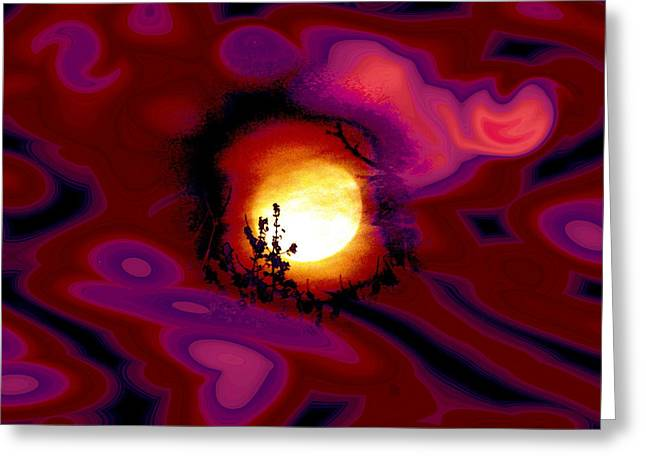 Over The Moon Lovers Greeting Card by Abstract Angel Artist Stephen K