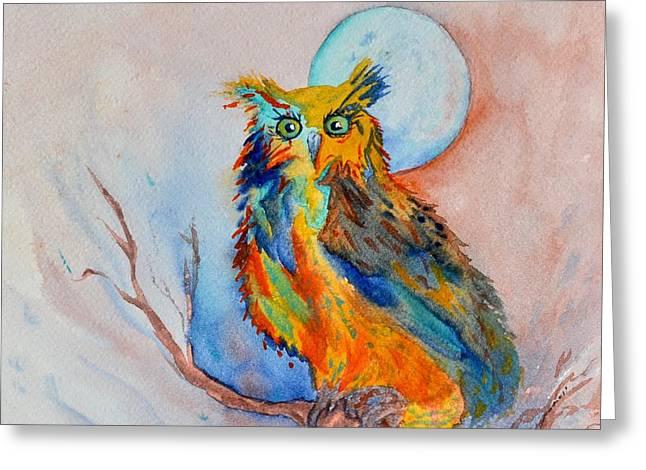 Moon Magic Owl Greeting Card by Beverley Harper Tinsley