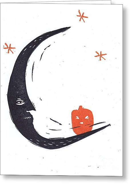 Moon Man And Jack-o-lantern Greeting Card by Coralette Damme