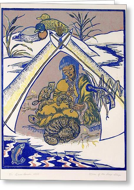 Greeting Card featuring the drawing Moon Of The Deep Sleep by Dawn Senior-Trask