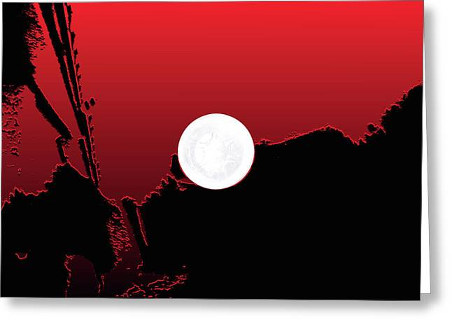 Moon On Abstract World Greeting Card by Bruce Iorio