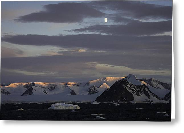 Moon Over Alpine Glow Antarctica Greeting Card