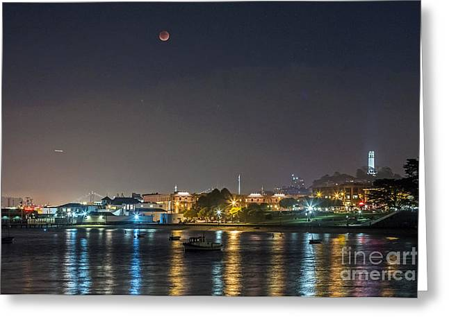 Moon Over Aquatic Park Greeting Card by Kate Brown