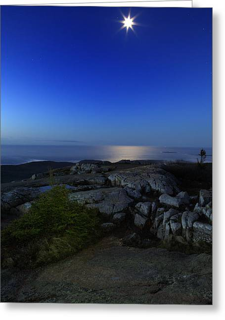 Acadia National Park Photographs Greeting Cards - Moon Over Cadillac Greeting Card by Rick Berk