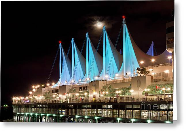 Moon Over Canada Place In Vancouver Greeting Card