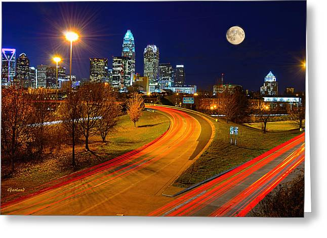 Moon Over Charlotte Greeting Card by Garland Johnson