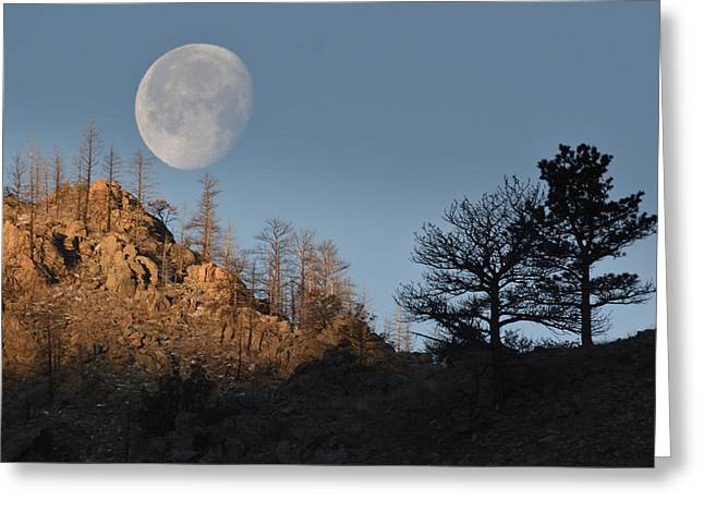 Greeting Card featuring the photograph Moon Over Colorado by Al  Swasey