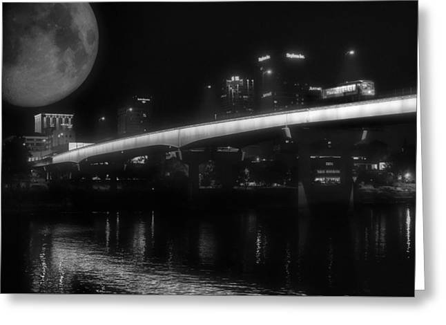Moon Over Downtown Little Rock - Black And White - Arkansas Greeting Card by Jason Politte