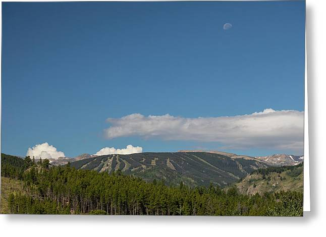 Greeting Card featuring the photograph Moon Over Eldora Summer Season Ski Slopes by James BO Insogna