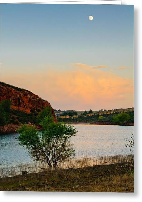 Moon Over Eltuck Bay, Ft. Collins, Colorado Greeting Card by Preston Broadfoot