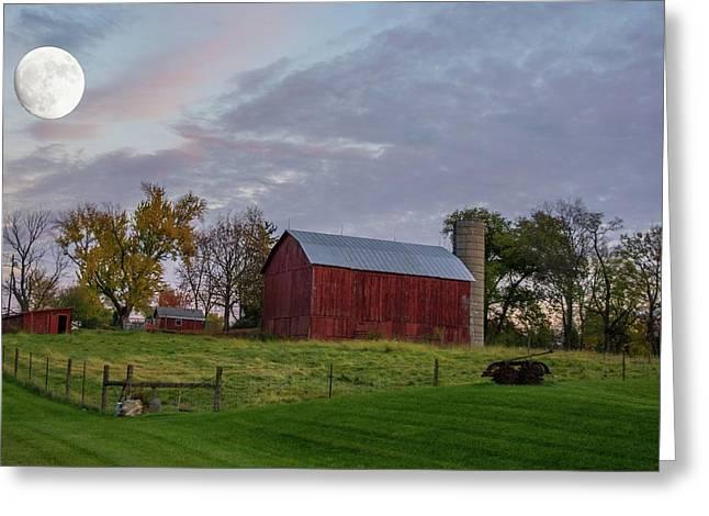 Moon Over Farm Greeting Card by Randall Branham