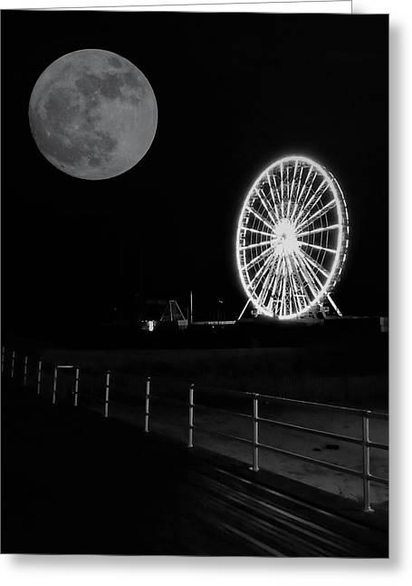 Moon Over Ferris Wheel Greeting Card