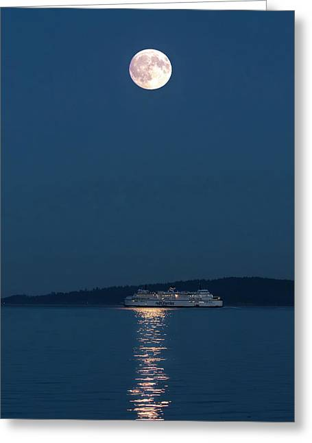 Moon Over Ferry - 365- 195 Greeting Card by Inge Riis McDonald
