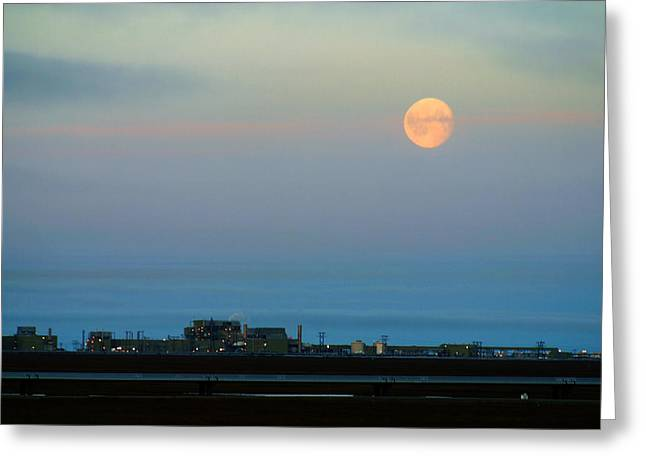 Moon Over Flow Station 1 Greeting Card