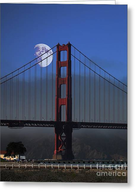 Moon Over Foggy Golden Gate Bridge . Vertical Greeting Card by Wingsdomain Art and Photography