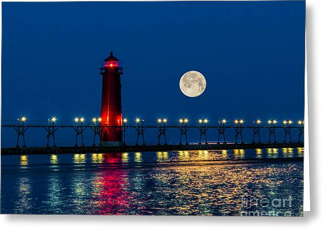 Moon Over Grand Haven Greeting Card