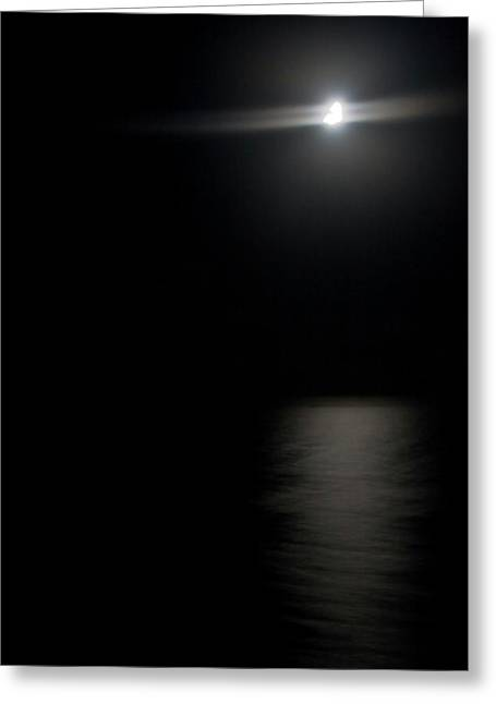 Moon Over Gulf Of Mexico Greeting Card by Gwen Vann-Horn