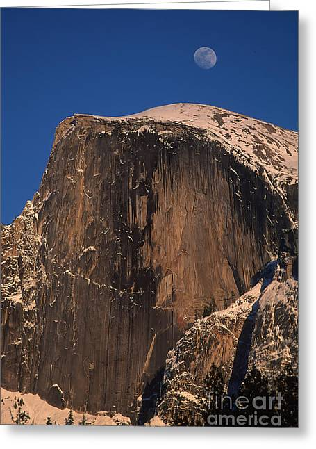 Moon Over Half Dome Greeting Card by Stan and Anne Foster