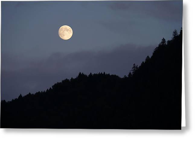 Greeting Card featuring the photograph Moon Over Hill by Menega Sabidussi