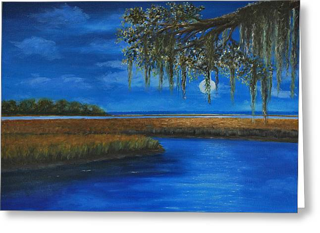 Tidal River Greeting Cards - Moon Over Hilton Head Greeting Card by Stanton D Allaben