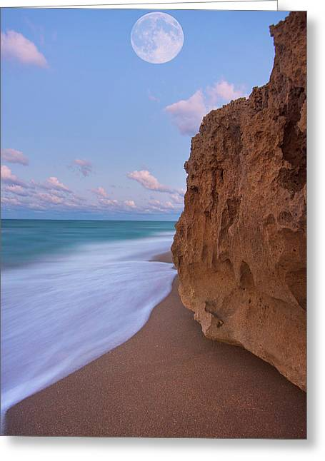 Greeting Card featuring the photograph Moon Over Hutchinson Island Beach by Justin Kelefas