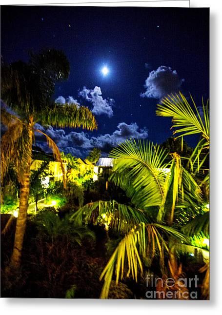 Moon Over Islands Greeting Card by Rick Bragan