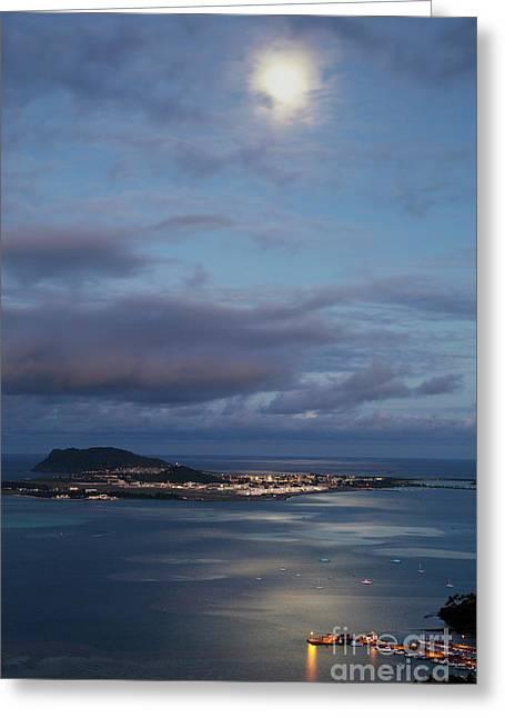Moon Over Kaneohe Bay Greeting Card