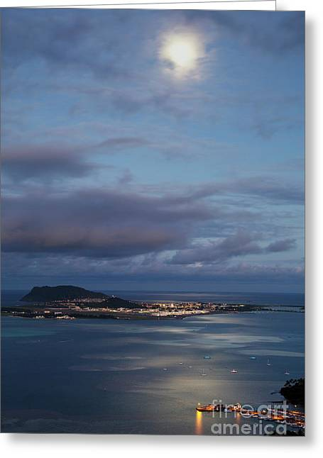 Greeting Card featuring the photograph Moon Over Kaneohe Bay by Charmian Vistaunet