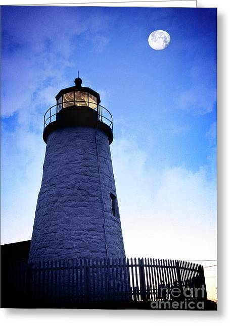 Moon Over Lighthouse Greeting Card