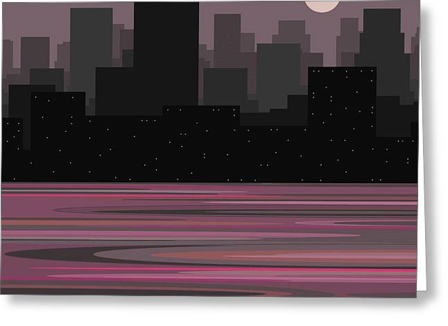 Moon Over Manhattan - A Different View Greeting Card