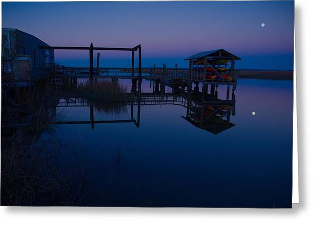 Moon Over Marshes Greeting Card