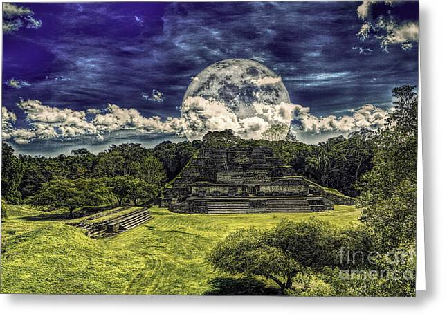Moon Over Mayan Temple Two Greeting Card by Ken Frischkorn