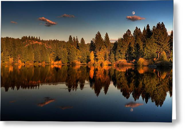 Moon Over Mill Pond Greeting Card by Mick Burkey