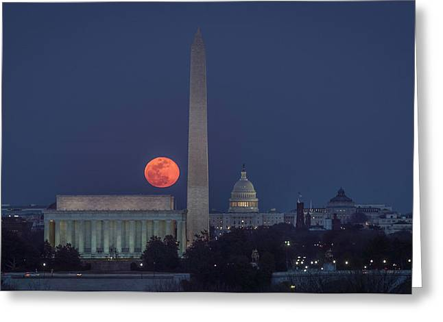 Moon Over Monuments Greeting Card by Michael Donahue