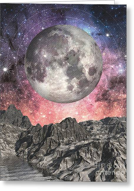 Greeting Card featuring the digital art Moon Over Mountain Lake by Phil Perkins