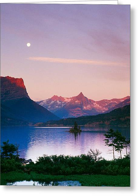 Moon Over Mountains And Saint Marys Lake Greeting Card by Panoramic Images