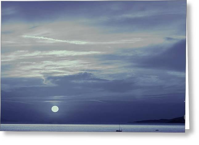 Moon Over Mykonos Greeting Card by Madeline Ellis