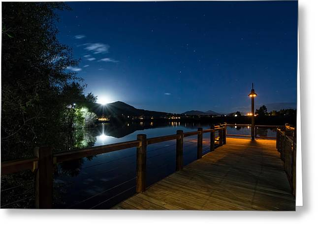 Moon Over North Pond Greeting Card by Michael J Bauer