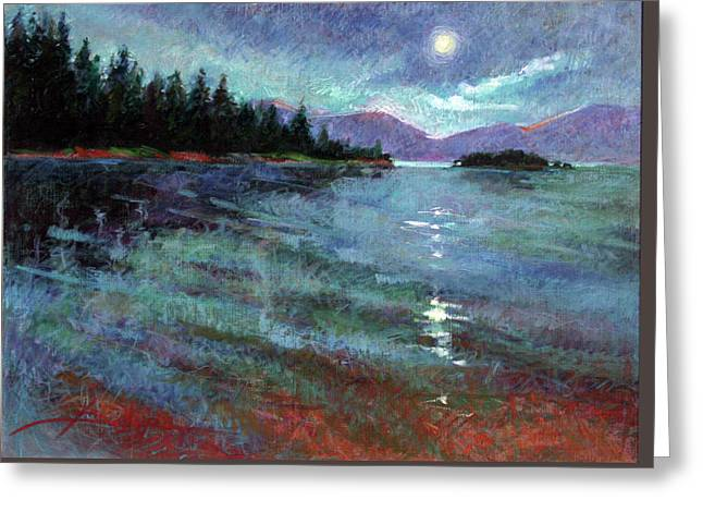 Moon Over Pend Orielle Greeting Card