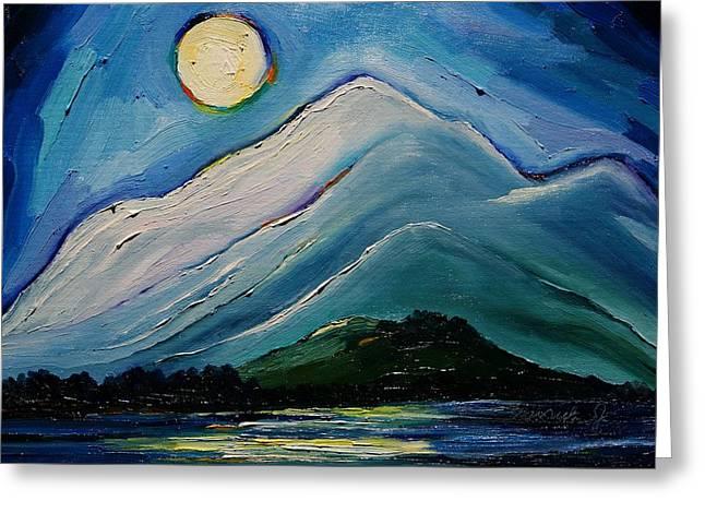Moon Over Pioneer Peak Greeting Card