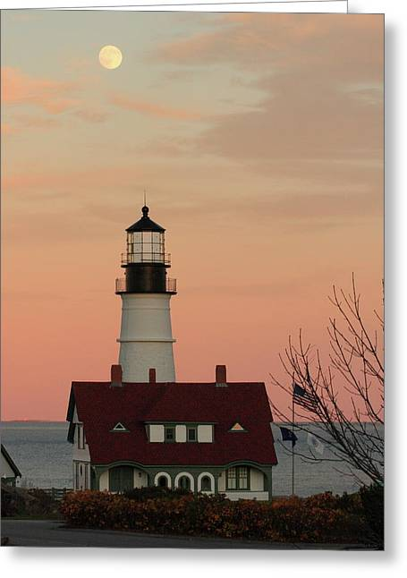 Moon Over Portland Head Lighthouse Greeting Card by Lou Ford