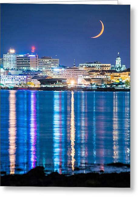 Moon Over Portland Greeting Card by Tim Sullivan