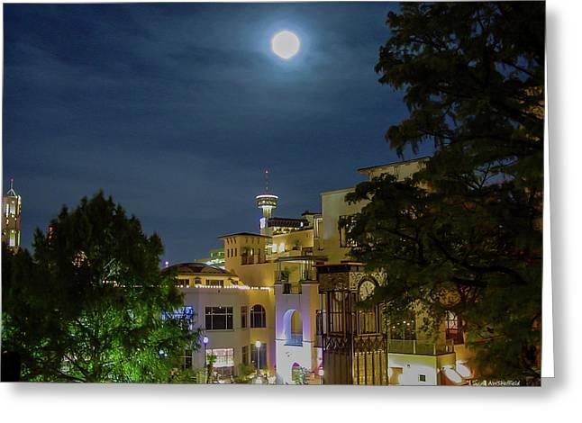 Moon Over San Antonio Greeting Card