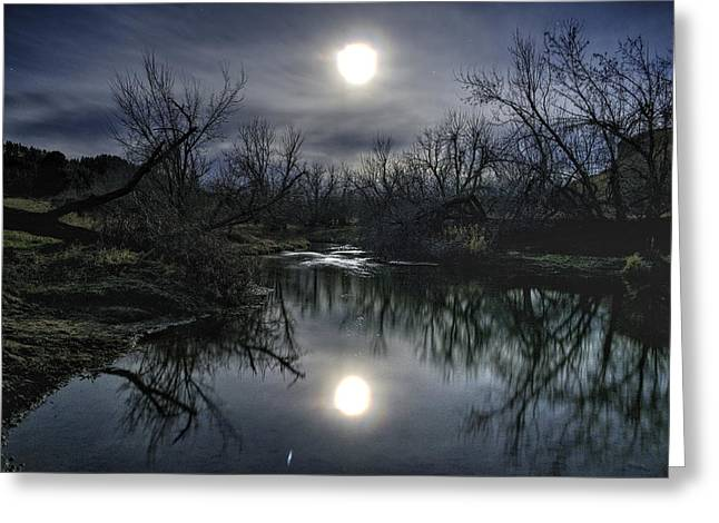 Moon Over Sand Creek Greeting Card