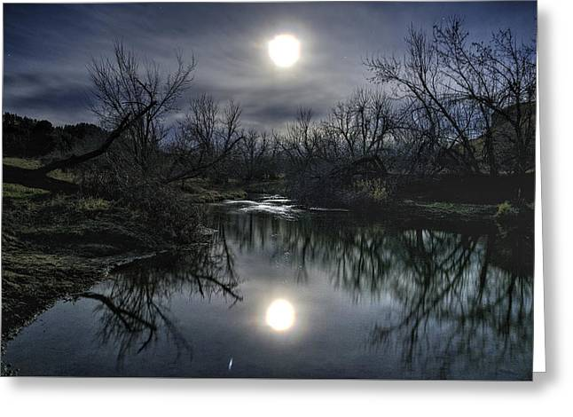 Moon Over Sand Creek Greeting Card