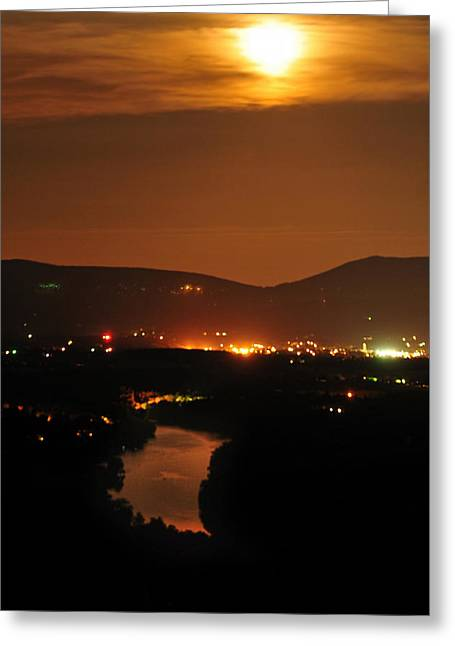 Greeting Card featuring the photograph Moon Over Shenandoah by Lara Ellis