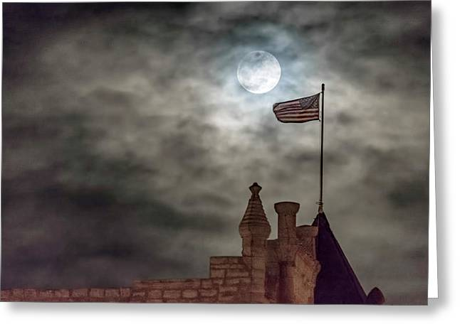Moon Over The Bank Greeting Card by Rob Graham