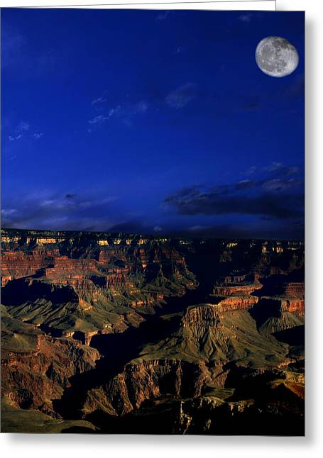 Moon Over The Canyon Greeting Card by Anthony Jones